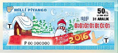Milli Piyango'nun yılbaşı ikramiyesinde büyük ikramiye 0556013 rakamlarının bulunduğu çeyrek bilete isabet etti. tarihte bugün