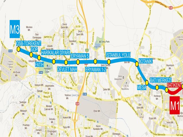 Ankara Batıkent-Sincan metrosu törenle açıldı.  tarihte bugün