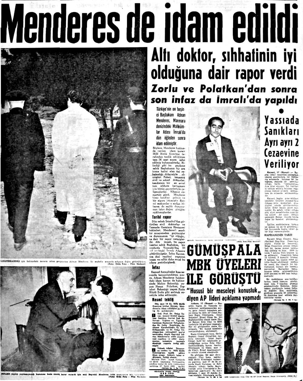 Adnan Menderes İmralı adasında idam edildi