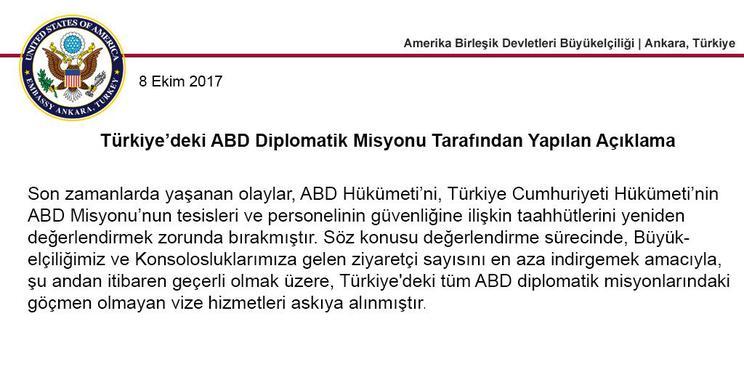 Amerika Türkiye Vize Başvurularını Süresiz Askıya Aldı
