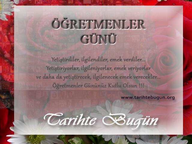 Bugün Öğretmenler Günü. Millet Mektepleri'nin açılışı ve Atatürk'ün Başöğretmenliği kabul tarihi olan 24 Kasım günü, 1981 yılından beri Öğretmenler Günü olarak kutlanmaktadır. Öğretmenler Gününüz Kutlu Olsun tarihte bugün