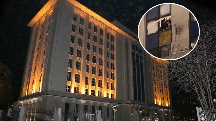 AK Parti Genel Merkezi'ne roketli saldırı düzenlendi. 7'inci kat ile 8'nci kat arasındaki bölüme isabet eden roket duvara ve pencerelere zarar verdi. tarihte bugün