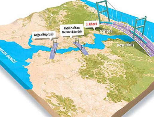İstanbul Boğazı'na inşa edilecek 3. köprünün temel Cumhurbaşkanı Gül ve Başbakan Erdoğan'ın da katıldığı törenle atıldı. tarihte bugün
