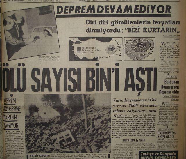 Erzurum Muş Bingöl Varto depremi