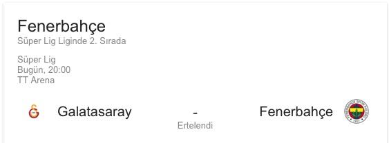 Galatasaray Fenerbahçe Derbisi Ertelendi