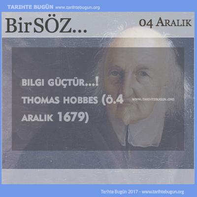 Günün Sözü Thomas Hobbes Bilgi güçtür