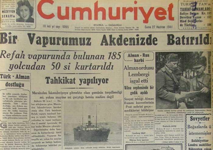 Refah şilebi bir denizaltı tarafından batırıldı, 168 kişi öldü. Bu saldırıyı hiç bir ülke üstlenmedi, gemiyi kimin batırdığı açıklığa kavuşamadı tarihte bugün