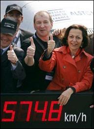 Fransa'da hızlı tren, deneme sürüşünde saatte 574,8 km hıza erişerek dünya rekoru kırdı.  tarihte bugün