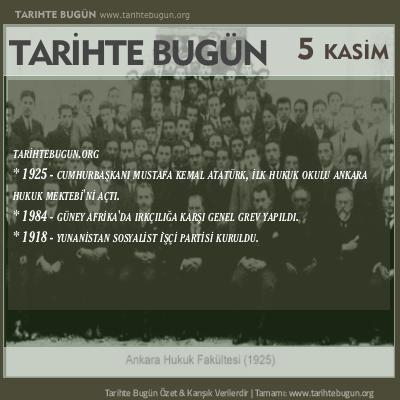 Tarihte Bugün olaylar özet 05 Kasim
