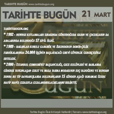 Tarihte Bugün olaylar özet 21 Mart
