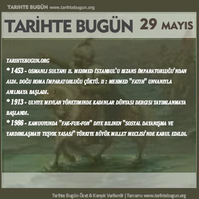 Tarihte Bugün olaylar özet 29 Mayis