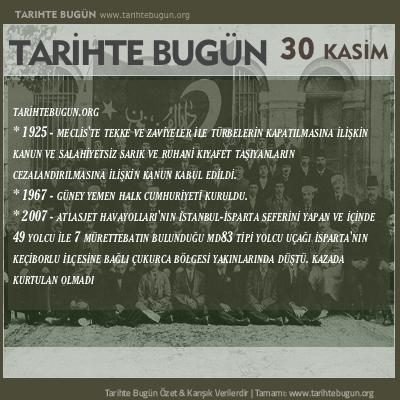 Tarihte Bugün olaylar özet 30 Kasim