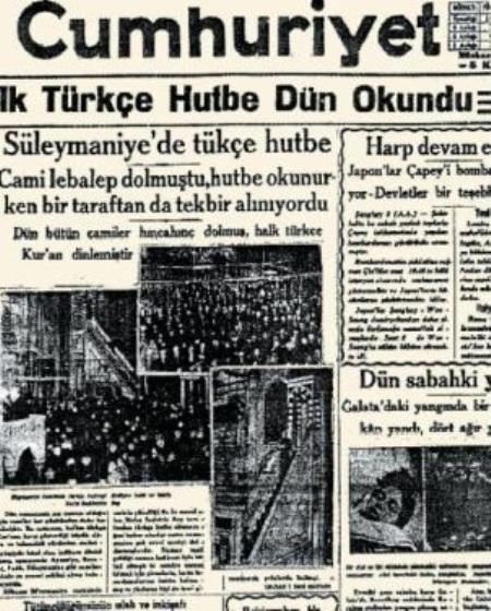 Türkçe olarak ilk hutbe okundu ne zaman nerede