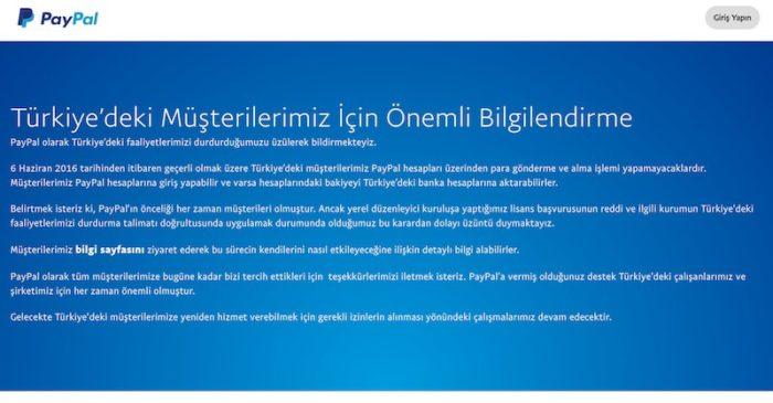 Uluslararası Ödeme Sistemi Paypal Türkiyeden çekildi